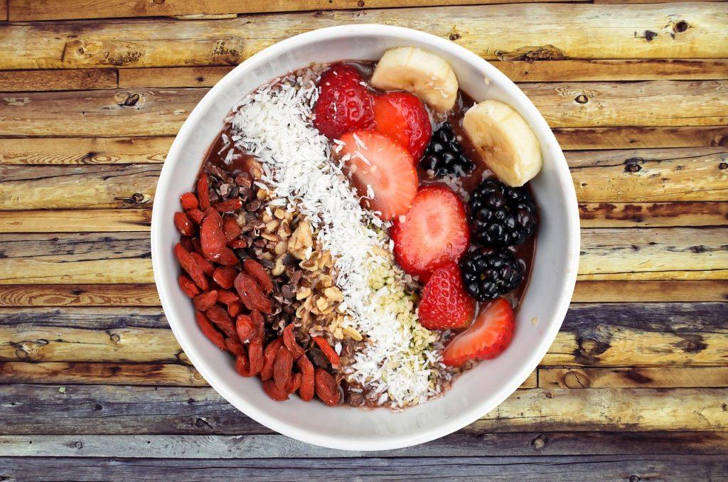 bowl of fruit, breakfast, food