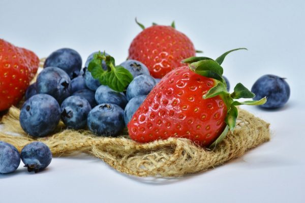 strawberries, blueberry, fruit